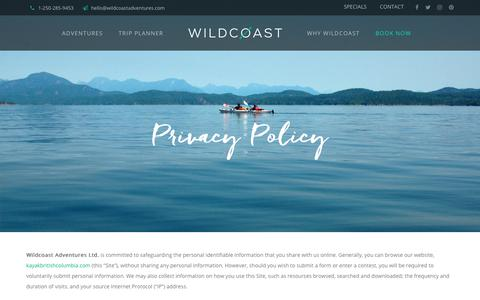 Screenshot of Privacy Page kayakbritishcolumbia.com - Privacy Policy - Wildcoast - captured Dec. 21, 2018
