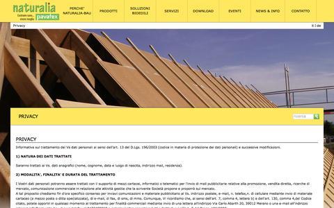Screenshot of Privacy Page naturalia-bau.it - Privacy - Naturalia BAU - captured Feb. 13, 2016