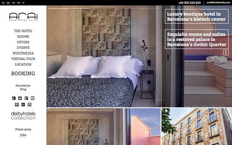 Screenshot of Home Page hotelarai.com - Arai Aparthotel Barcelona 4*S city historical center - captured Sept. 12, 2015