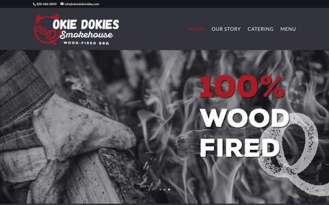 Screenshot of Home Page okiedokiesbbq.com - Okie Dokies Smokehouse, North Carolina Barbeque | 100% wood fired barbeque - captured April 22, 2017