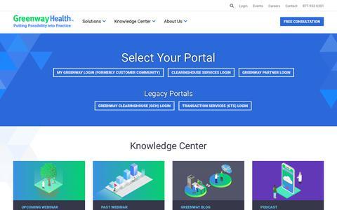 Screenshot of Login Page greenwayhealth.com - Greenway Log-in page | Greenway Health - captured Jan. 24, 2019