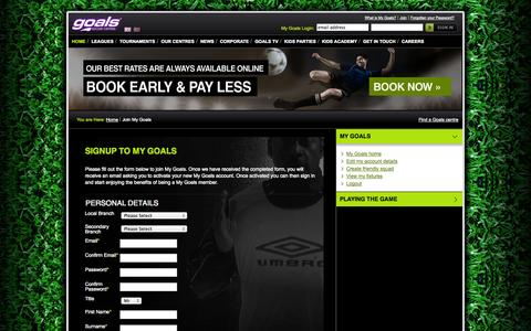 Screenshot of Signup Page goalsfootball.co.uk - Goals Soccer Centre Registration - captured Sept. 19, 2014