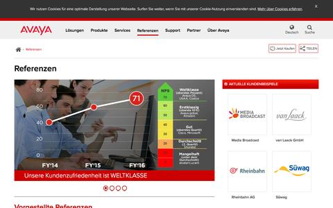 Screenshot of Case Studies Page avaya.com - Referenzen - Große Unternehmen, Mittelstand Case Studies - Avaya DE - captured March 10, 2017