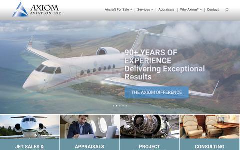 Screenshot of Home Page axiomav.com - Axiom Aviation - 90+ Years Jet Sales Expertise - captured Nov. 13, 2018