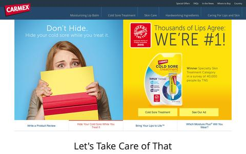 Screenshot of Home Page mycarmex.com - Carmex Lip Care, Lip Balm and Skin Care Products : My Carmex - captured Oct. 1, 2015