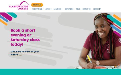 Screenshot of Home Page glasgowclyde.ac.uk - Study in Glasgow | Glasgow Clyde College - captured Sept. 26, 2018