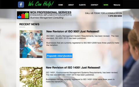 Screenshot of Press Page wchservices.com - WCH Professional Services / Standards Implementation Experts - captured Sept. 24, 2016