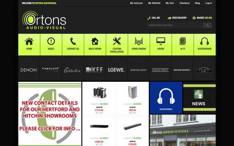 Screenshot of Home Page ortonsaudiovisual.com - Ortons Audio Visual - HiFi, Home Cinema, Multiroom & Custom Install - captured Oct. 9, 2014