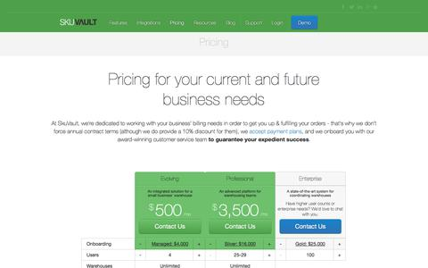 Screenshot of Pricing Page skuvault.com - SkuVault Warehouse Management System · Pricing - captured Feb. 19, 2018
