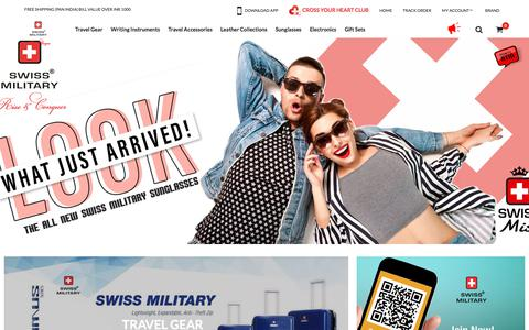 Screenshot of Home Page swissmilitaryindia.com - SwissMilitary | Buy Travel Gear, Travel Accessories, Travel Backpacks & Tools Online by Swiss Military - captured Nov. 16, 2017