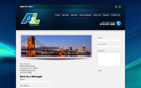 Screenshot of Contact Page alimaging.com - Contact Us | A & L Imaging - captured July 8, 2018