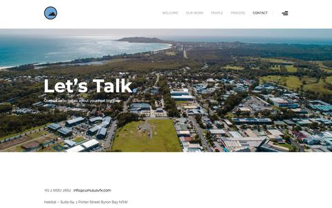 Screenshot of Contact Page cumulusvfx.com - CONTACT - Cumulus Visual Effects Byron Bay Australia - captured Dec. 16, 2018