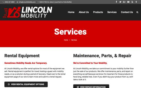 Screenshot of Services Page lincolnmobility.com - Services | Lincoln Mobility - captured July 14, 2016