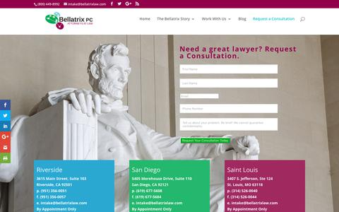 Screenshot of Contact Page bellatrixlaw.com - Contact the Attorneys at Bellatrix PC - captured Oct. 5, 2018
