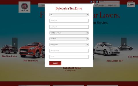 Screenshot of Home Page fiat-india.com - Fiat Linea - Fiat Punto - Best Petrol, Diesel Cars in India - captured Oct. 1, 2015