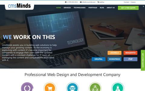 Screenshot of Home Page cmsminds.com - Professional Web Design & Development Company in NC, USA - captured Nov. 2, 2018