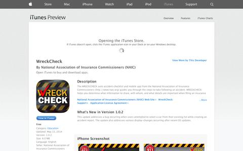 Screenshot of iOS App Page apple.com - WreckCheck on the App Store on iTunes - captured Oct. 22, 2014