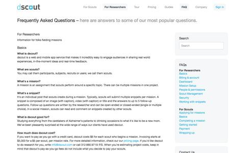 Screenshot of FAQ Page dscout.com - Mobile Research · dscout - captured Oct. 27, 2014