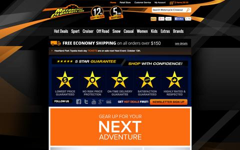 Screenshot of Home Page motorcyclecloseouts.com - Motorcycle Closeouts - captured Sept. 19, 2014