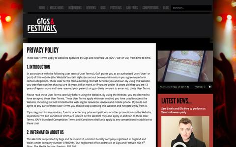 Screenshot of Privacy Page gigsandfestivals.co.uk - Privacy Policy - captured Sept. 19, 2014