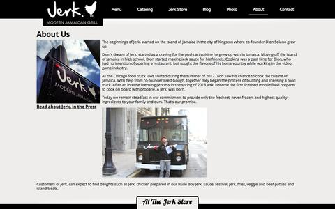 Screenshot of About Page jerk312.com - About Us - Jerk - Chicago's Modern Jamaican Grill - captured Oct. 6, 2014