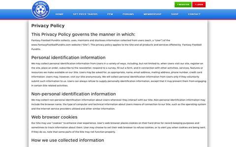 Screenshot of Privacy Page fantasyfootballpundits.com - Privacy Policy - Fantasy Football Tips, Advice & News from Fantasy Football Pundits - captured Sept. 19, 2014