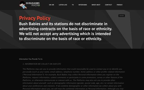 Screenshot of Privacy Page bushbabies.ca - Privacy Policy | Bush Babies Radio - captured Oct. 5, 2014