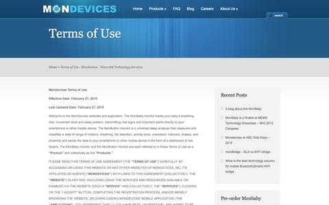 Screenshot of Terms Page mondevices.com - Terms of Use - Mondevices - Wearable Technology Services   Mondevices - Wearable Technology Services - captured Feb. 14, 2016