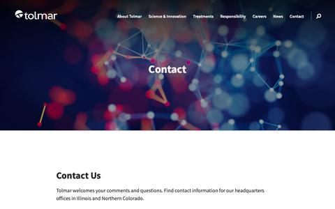 Screenshot of Contact Page tolmar.com - Contact Us | Tolmar - captured Oct. 18, 2018