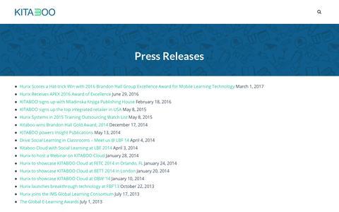 Screenshot of Press Page kitaboo.com - Press Releases - Kitaboo - captured Dec. 1, 2017