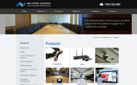 Screenshot of Products Page avsystems.com.au - Interactive Whiteboards Lessons, CCTV Systems, Audio Visual Systems - captured Oct. 4, 2014