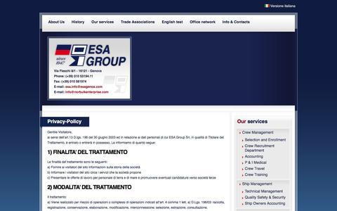 Screenshot of Privacy Page esagenoa.com - Enterprise Shipping Agency Genova - Privacy-Policy - captured Jan. 29, 2016