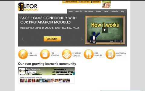 Screenshot of Home Page tutorpanorama.com - Tutor Panorama: A leading online tutoring company - captured Aug. 16, 2016