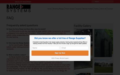 Screenshot of FAQ Page range-systems.com - FAQ - Range Systems - captured Aug. 12, 2016