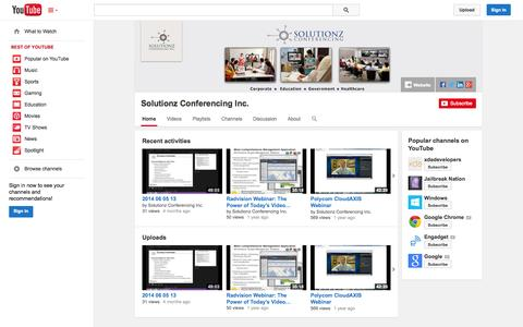 Screenshot of YouTube Page youtube.com - Solutionz Conferencing Inc.  - YouTube - captured Nov. 5, 2014