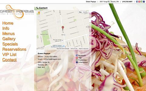 Screenshot of Contact Page greenpapayatoronto.com - Contact | Green Papaya | 2401 Yonge St., Toronto, ON | (416) 932-8891 - captured Nov. 2, 2014