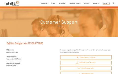 Screenshot of Support Page shiftf7.com - Customer Support - Shift F7 - captured Sept. 30, 2018