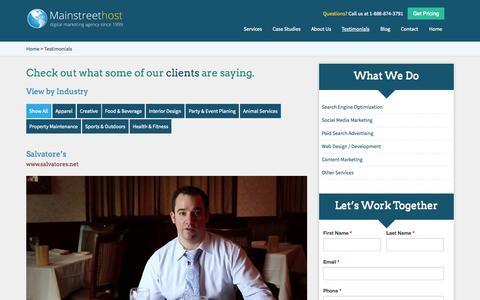 Screenshot of Testimonials Page mainstreethost.com - Client Testimonials | Buffalo, NY Based Digital Marketing Agency - Mainstreethost - captured Sept. 23, 2014