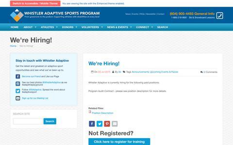Screenshot of Jobs Page whistleradaptive.com - We're Hiring! | Whistler Adaptive Sports Program - captured Nov. 20, 2018