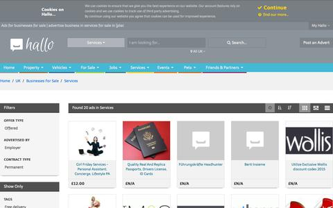 Screenshot of Services Page hallo.co.uk - Businesses For Sale | Advertise Business in Services for Sale in [PLAC | Advertise Free Businesses For Sale | Page 1 | Hallo - captured Sept. 29, 2015