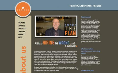 Screenshot of About Page conjureconsulting.com - Conjure Consulting: creating solutions for the restaurant industry | Welcome - captured Sept. 30, 2014