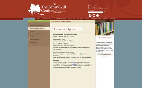 Screenshot of Hours Page schuylkillcenter.org - The Schuylkill Center  - About Us - Hours of Operation - captured Oct. 4, 2014