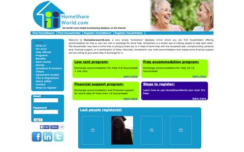 Screenshot of Home Page homeshareworld.com - homeshareworld.com ¦ the world's most simple homesharing database, on the internet. - captured Jan. 30, 2016