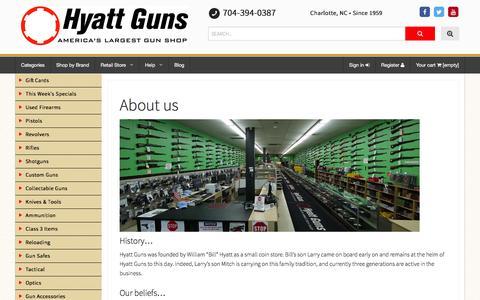 Screenshot of About Page hyattgunstore.com - About us - Hyatt Guns - captured Feb. 8, 2016