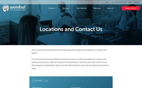 Screenshot of Contact Page wombatsecurity.com - Contact Us - captured Jan. 13, 2018