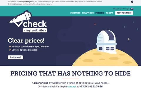 Screenshot of Pricing Page checkmy.ws - Check my Website - Pricing that has nothing to hide - captured Jan. 17, 2016
