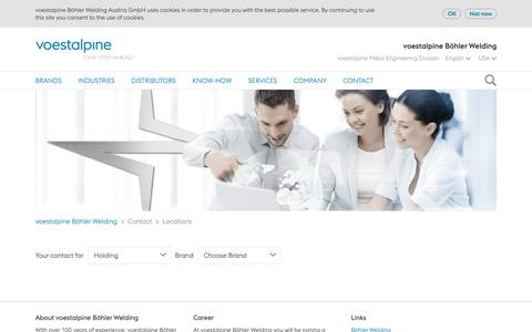 Screenshot of Contact Page Locations Page voestalpine.com - voestalpine Böhler Welding - Contact - Locations - captured Oct. 7, 2018