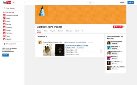 Screenshot of YouTube Page youtube.com - BigBluePencil's channel  - YouTube - captured Oct. 23, 2014