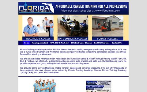 Screenshot of Home Page fltraining.com - CPR, BLS, First Aid, Nursing Assistant & Workforce Training in Jacksonville - captured Oct. 10, 2018