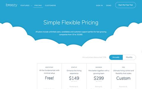 Screenshot of Pricing Page breezy.hr - Pricing - ATS & Recruiting Software - Breezy HR - captured Jan. 29, 2019
